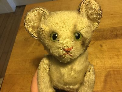"""Antique German Rare Steiff Jointed Tabby Cat Kitten 6"""" No Id Timeworn Condition"""