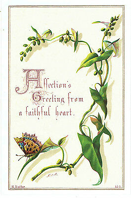 H Rothe Victorian Christmas Greetings Card Ivy Butterfly Artist Mvm ? Religious