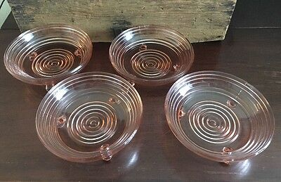 Anchor Hocking Manhattan Pink 3 Toed Footed Open Candy Dish Set of 4 Lot 3