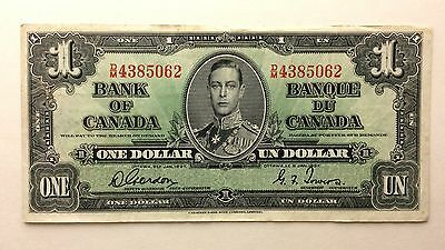 1937 Canada Gordon Towers One Un 1 Dollar Prefix DM Paper Currency Banknote A941