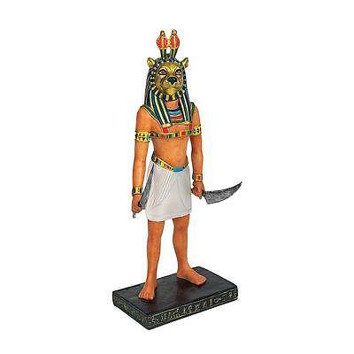 Mahes, Son of Sekhmet Warrior Goddess, Lion Headed Ancient Egyptian God Statue