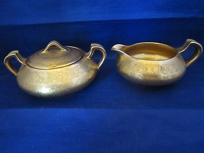Gold Plated Creamer and Lidded Sugar Bowl