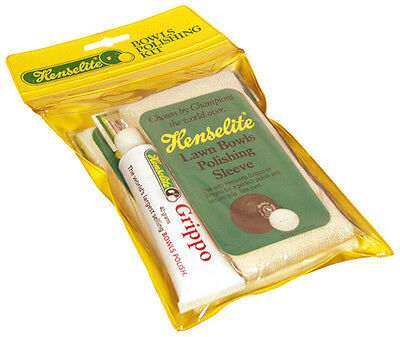 Henselite Grippo Wax With Sleeve & Cloth Lawn Bowls Polishing Kit