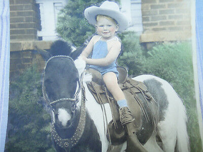 """Antique Little Boy Riding Horse Pony Real Photo tinted 9x7"""" vintage picture CUTE"""