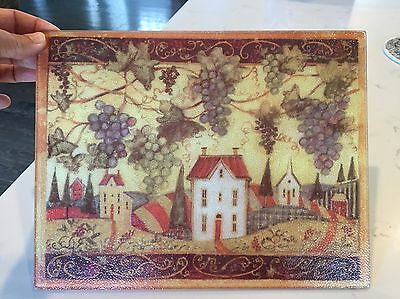 "VTG Glass Cutting Board 11x 8.5"" Cheese Server Trivet Hot Plate Grapes/Houses"
