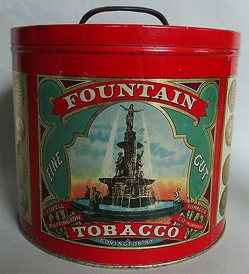"Htf ""fountain"" Advertising Counter Top Tobacco Tin W/handled Lid Quite Rare Item"