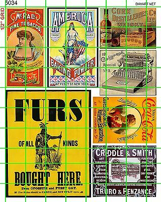 5034 DAVE'S DECALS STEAM ERA EARLY 20th CENTURY AD SIGN FURS COLA WHISKEY BAKING