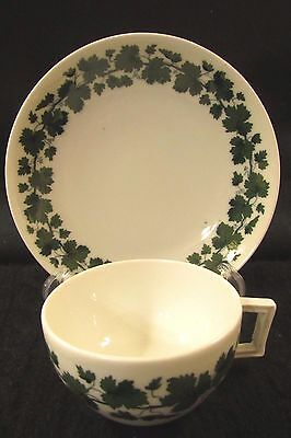 Early 1800s MEISSEN Swords Germany Green Ivy Small Cup Saucer Set Rarer Style