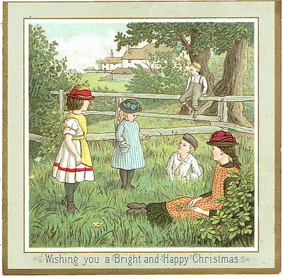 Victorian Christmas Greetings Card Children Playing In Fields