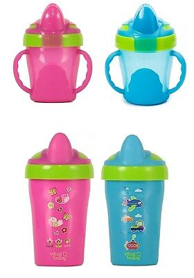 Vital Baby Free Flow Cup With Soft Flip Spout Pink Weaning Cups Feeding Bn