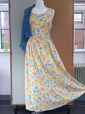Laura Ashley dress yellow floral vintage size 18 summer tea party long