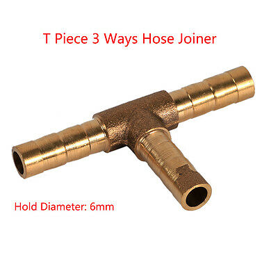 "Solid Brass Barbed ""T"" Splitter/Joiner/Connector Pipe Fitting Air Fuel Hose AM"