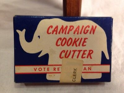 Vintage 1950's Vote Republican GOP Campaign Elephant Cookie Cutter In Box