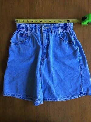 Vtg Lee Acid Wash High Waist Mom Jeans Shorts Elastic Waist Size 8 Med Festival