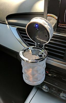White Illuminated Mini Car Air Vent Trash / Cigarette Ash / Rubbish Garbage Bin