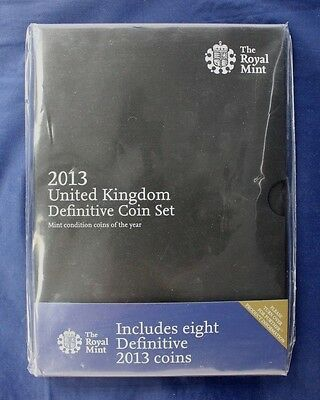 2013 Royal Mint 8 coin Definitive set in folder - Factory Sealed   (A8/2)