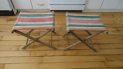 2 CANVAS WOODEN FOLDING CAMPING FISHING STOOL chair