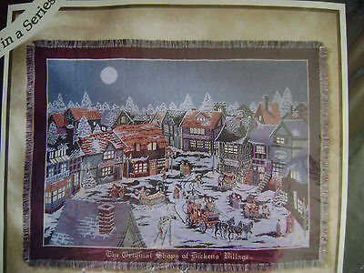 Dept 56 Original Shops At Dickens Village  Triple Woven Throw Usa New