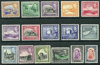 Weeda Cyprus 143-155 Fresh VF MH/NH 1938-44 KGVI set of 16 CV $121