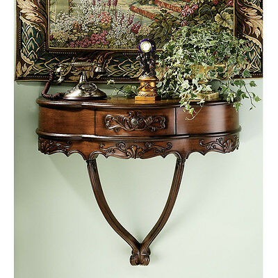 Hand Carved French Style Antique Replica Wall Mounted Console Table with Drawer
