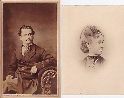 1870s David Rees CDV Finely Dressed Victorian Gentlemen Seated  Woman in Profile