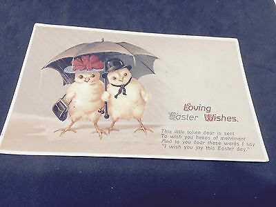 69  Antique Postcard -  Easter - Charming Ducks - hats & Umbrellas - posted 1914
