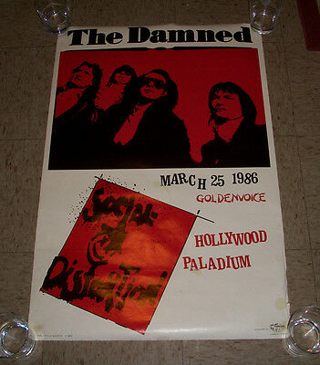 Social Distortion The Damned Concert Promo Poster from 1986 Hollywood paladium