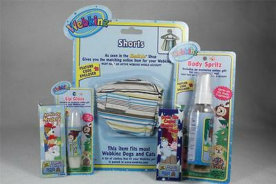 Webkinz Set of 5 'Shorts, Body Spritz, Lip Gloss, 2 Bookmarks-NEW With Codes!