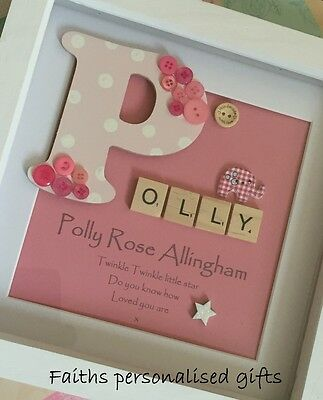 Baby Girl Personalised Box Frame Add Your On Words/christmas Gift