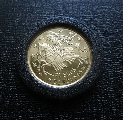 1991 Gibraltar 50 Pounds / 70 Ecus Proof Gold Coin - Knight on Horseback