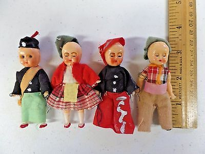 "Vintage Set of 4 Small Plastic String Jointed Ethnic Dolls 3"" Made in Hong Kong"
