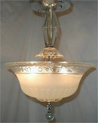 Vtg 30S Art Deco Blue Glass Shade Globe Chandelier Light Fixture