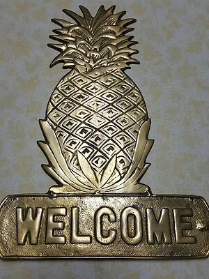 Pineapple  Brass Welcome Plaque