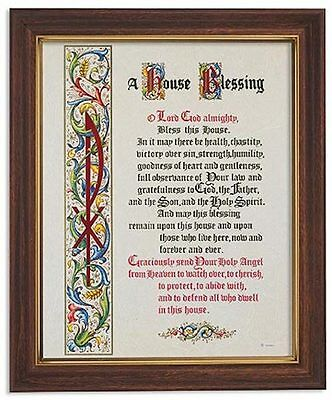 HOUSE BLESSING Prayer Image Wood tone Frame With Glass print  House warming gift