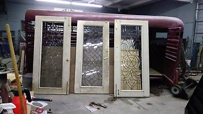 3 Antique Glass Doors Leaded, Beveled and Cut.   Excellent Condition