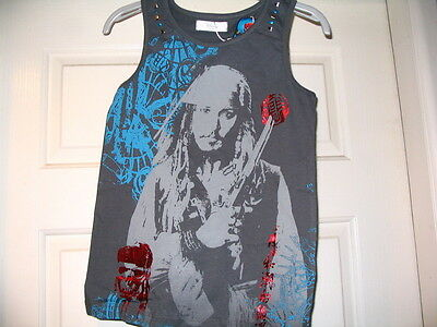 Disney Store Pirates Of The Caribbean Jack Sparrow Vest Top 11/12 Brand New