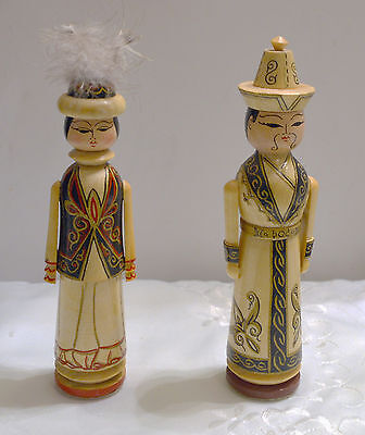 Sweet Pair of Wooden Hand Painted Japanese Kokeshi Dolls Man & Woman