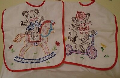 Vintage  Hanmade Completed Embroidered Baby Bibs -Set Of 2