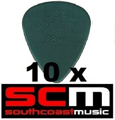 10 X .88 NYLON GREY GUITAR PICKS by JIM DUNLOP 10 x PLECTRUMS BRAND NEW