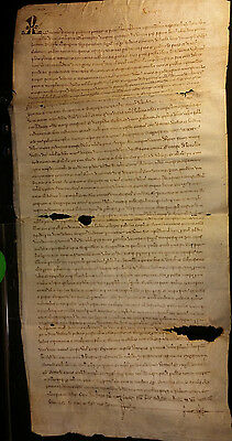 1324 - Very Large Medieval Time Latin Manuscript on Parchment Period CHARLES IV