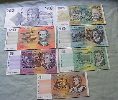 $1 to $100 Australian paper banknotes circulated various signatures,  FREE POST.