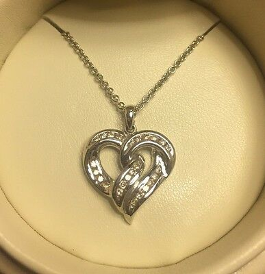"""New Solid 14k White Gold & 0.25ct Clear Shiny Diamond Heart 16"""" Necklace"""