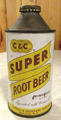 Early 1950's Cantrell & Cochrane Super Root Beer Cone Top Soda Pop Can