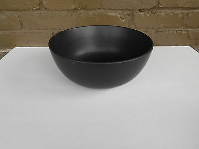Mid Century Large Black Matte Glaze Pottery Bowl  11""