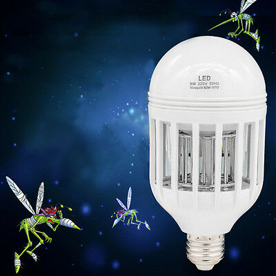 2in1 E27 LED Insects Zappers Light Mosquito Killer Bulb Moths Bugs Fly Trap Lamp