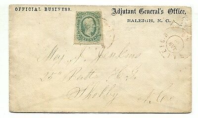 """RALEIGH NC JAN 10 1864 CSA #12 on """"Adjutant General's Office"""" Official Business"""