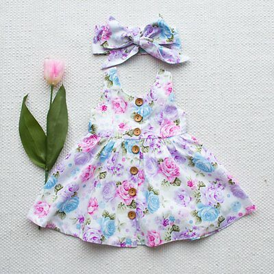AU Toddler Kids Baby Girl Dress Floral Party Dresses Sundress Headband Outfits