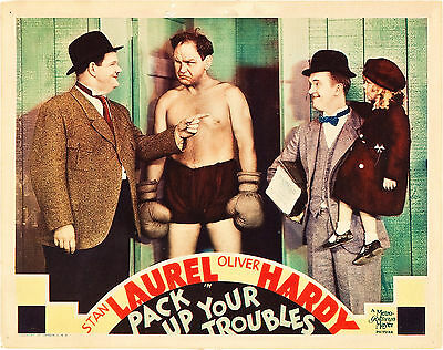 Pack Up Your Troubles 11 X 14  Lobby Card LC  Stan Laurel and Oliver Hardy