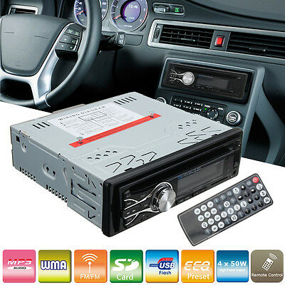 Single Din Car CD DVD Player In Dash Stereo Bluetooth Radio + Remote Controller
