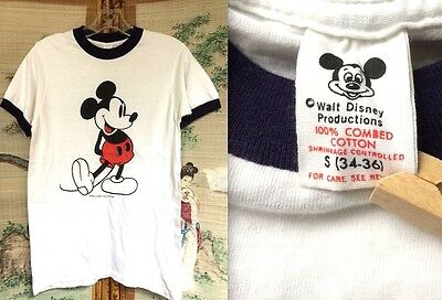 VTG 70s 80s MICKEY MOUSE DISNEYWORLD USA WHITE BLUE RINGER T-SHIRT THIN 50/50 S